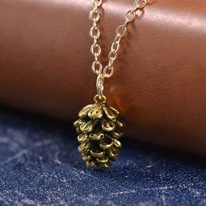 Pinecone Pendant Chain Necklace in Antique Gold